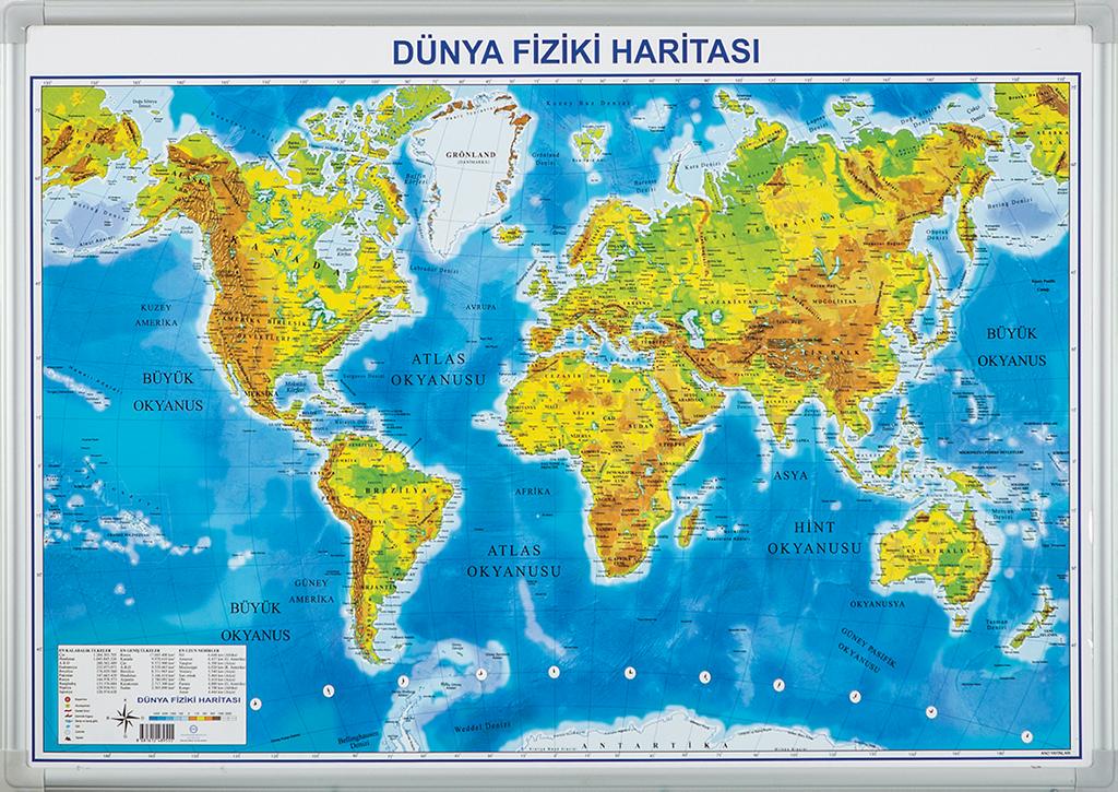 World Physical Map – Elegant Framed