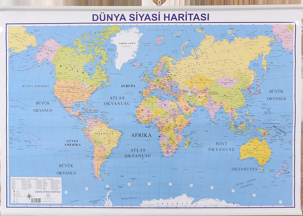 Dünya Siyasi Haritası – Fiziki Çıtalı