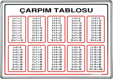 Elegant Frame Wall Mounted Multiplication Table Board